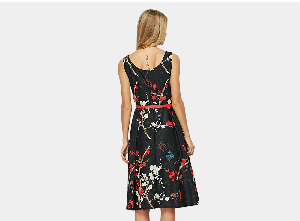 Old Classical  Sleeveless Round Collar Floral Print Belt Dress for Women