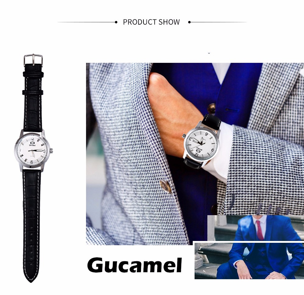 Gucamel B009 Men Quartz Watch Leather Band Date Day Display Wristwatch