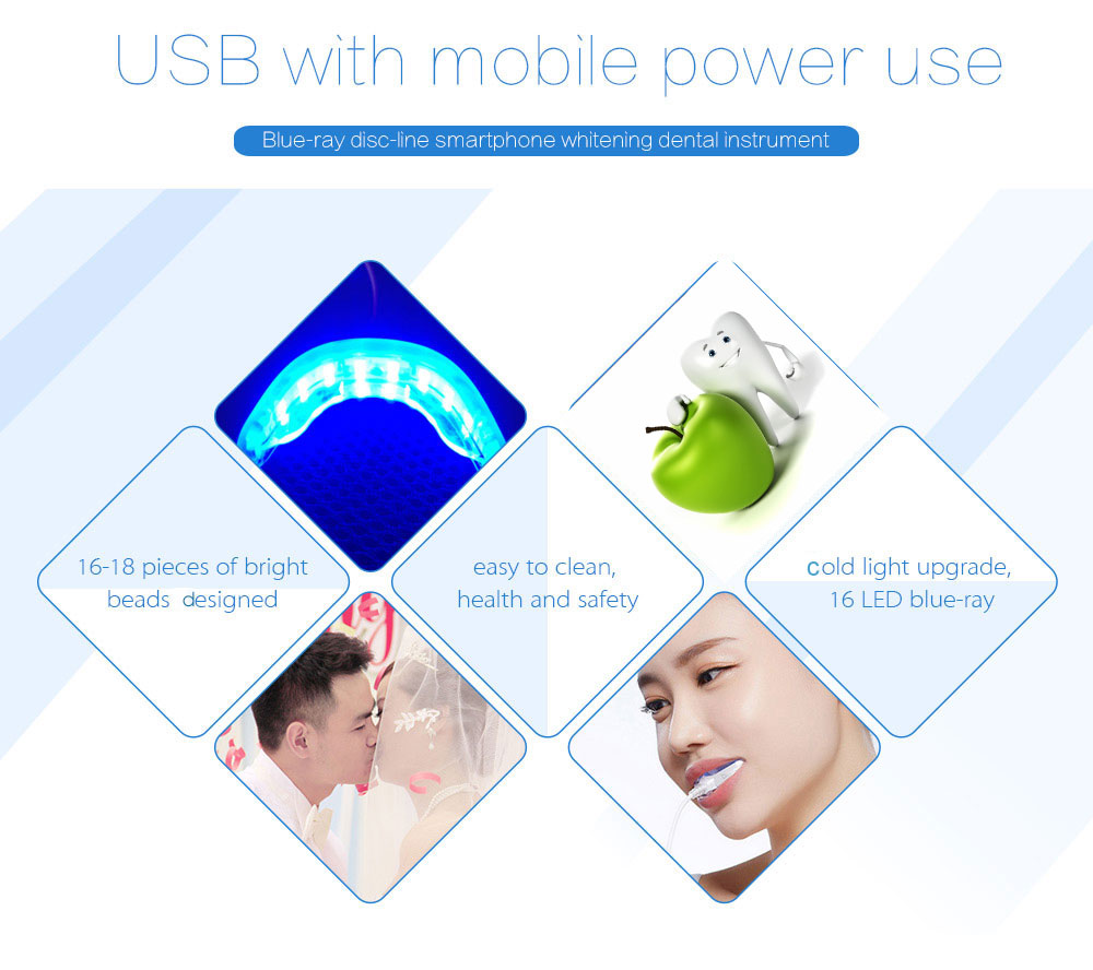 Efficient LED Light Tooth Whitening Kit Dental Instrument Line Phone Interfaces