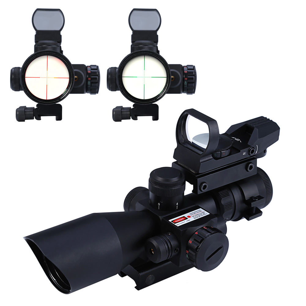 2.5 - 10X40 Tactical Riflescope Red / Green Laser Dual Illuminated Scope Mil-dot  Rail Mount