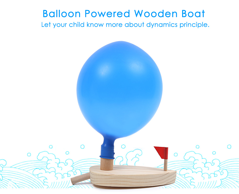 Creative Balloon Powered Wooden Boat Kids Water Bath Toy