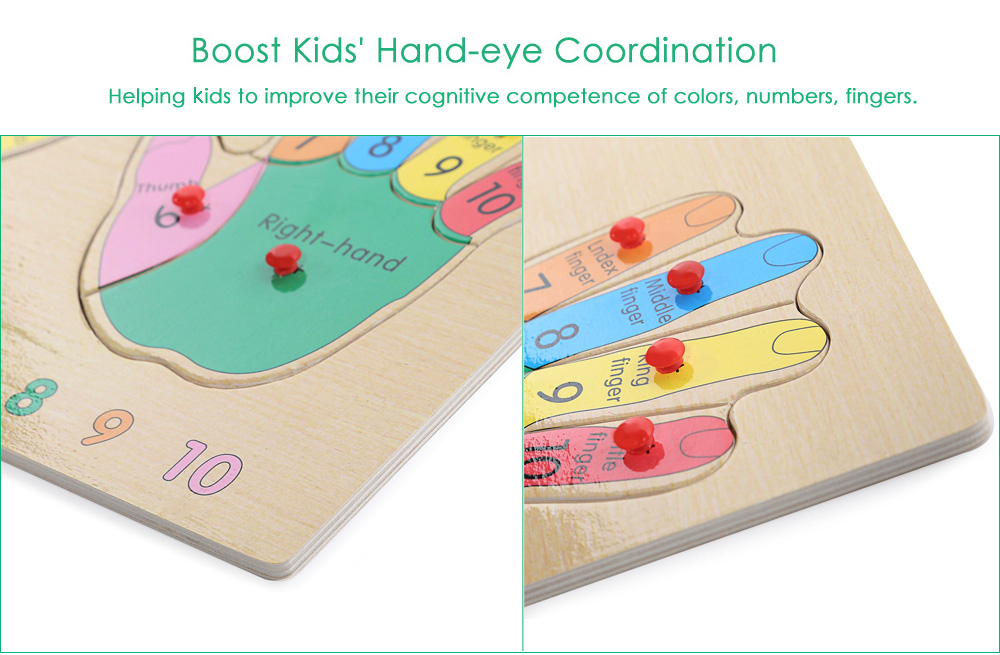 Hands Wooden Building Block Educational Jigsaw Puzzle Child Toy