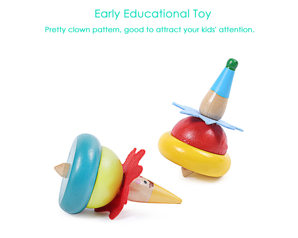 Wooden Painted Clown Peg-top Kids Early Intelligent Toy