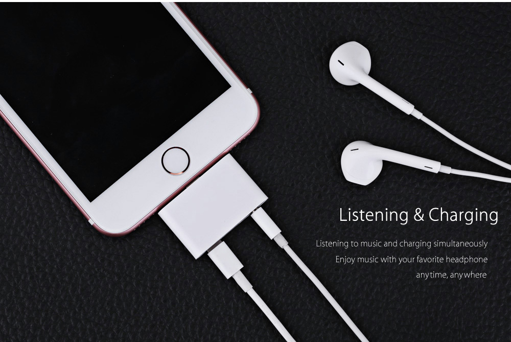2 in 1 8 Pin to 3.5mm Audio Headphone Jack Connector Charging Converter Adapter for iPhone 7 / 7 Plus