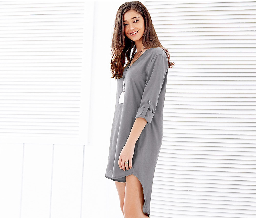 Brief Half Rolled Sleeve V Neck High-low Hem Shirt Dress for Women