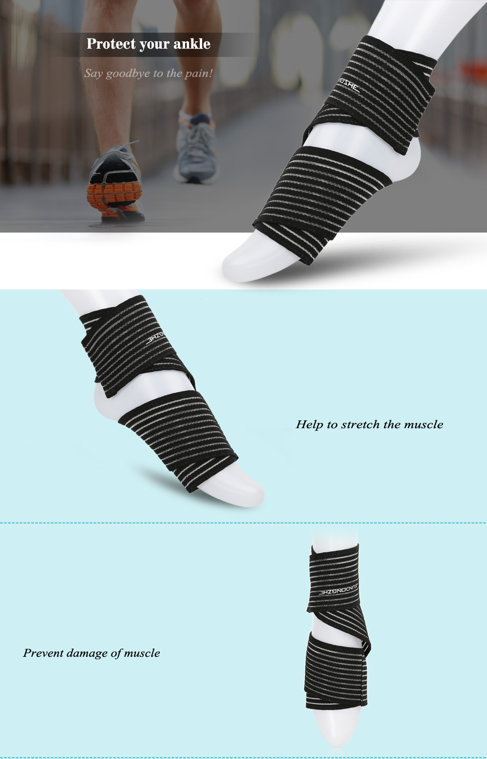 YUNDONGZHE Outdoor Safety Circumvolute Ankle Protector Support for Soccer Football Cycling Running