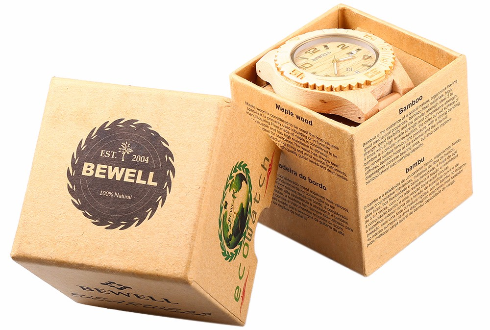 Bewell Papery Watch Box Package Case for Gift