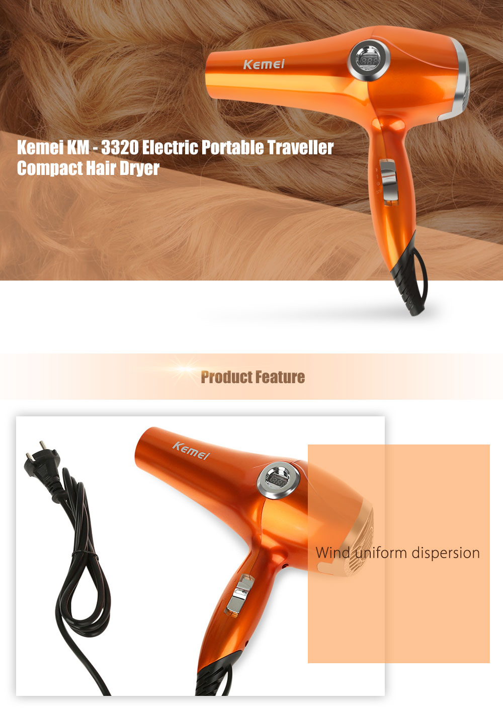 Kemei KM - 3320 Powerful Electric Portable Traveller Compact Hair Dryer