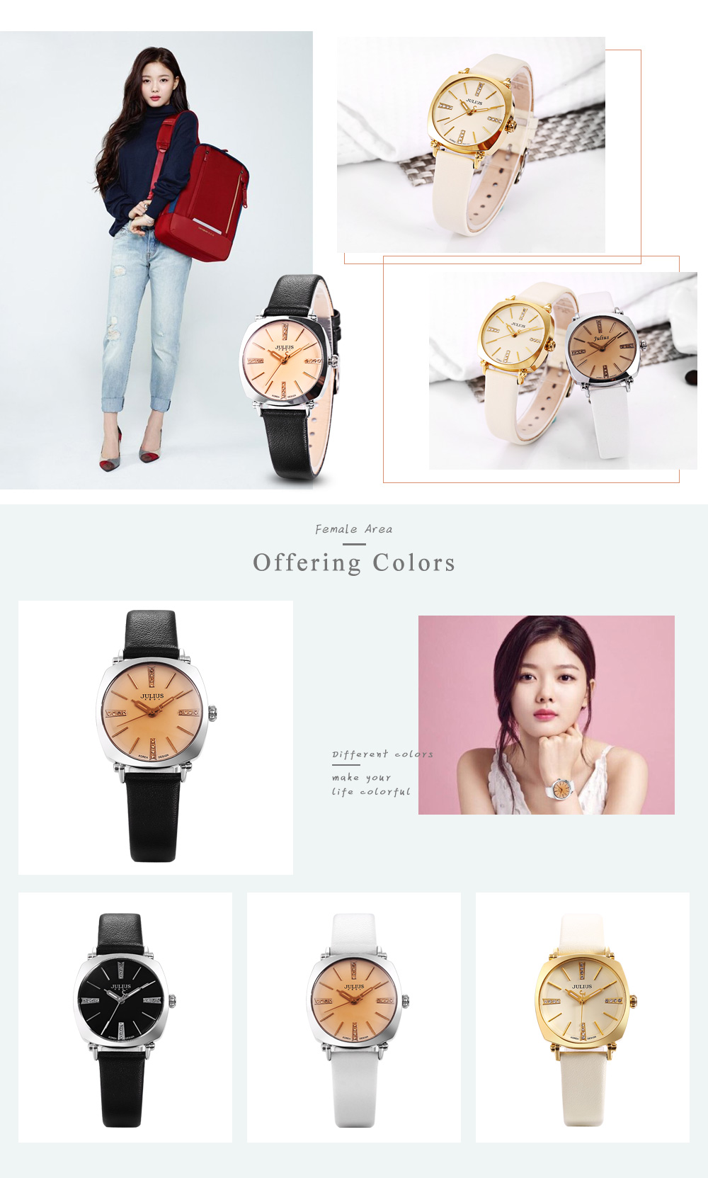 Julius JA - 388L Women Leather Analog Quartz Watch Luminous Pointer