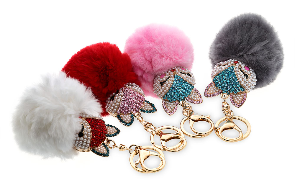 Fashion Cute Fox Fur Plush Car Keyring Keychain for Pendant Handbag