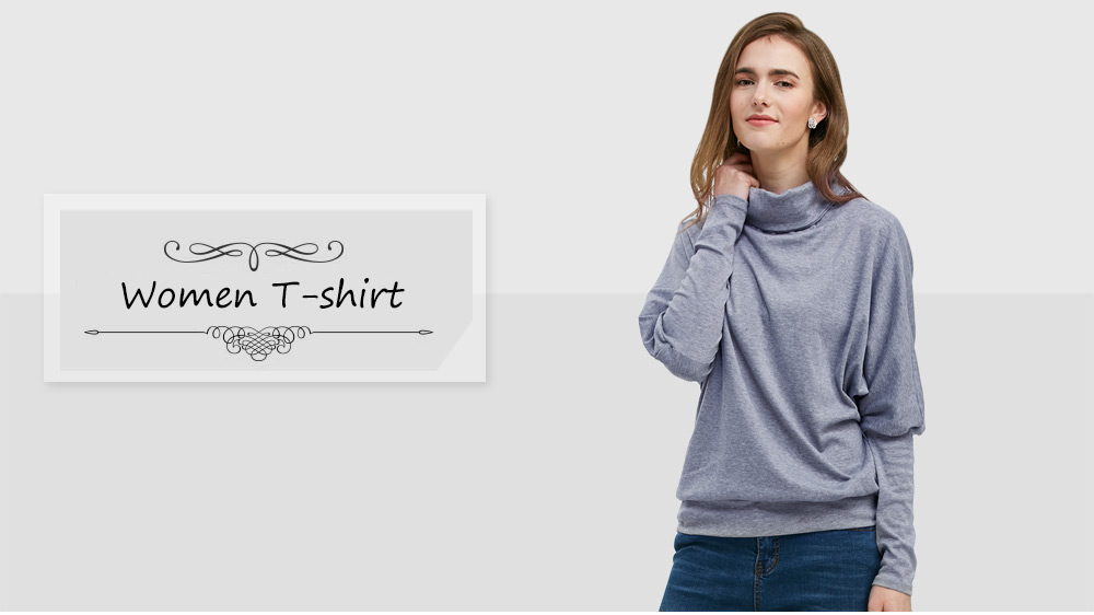 Fashionable Long Bat Sleeve Stand Collar Button T-shirt for Women