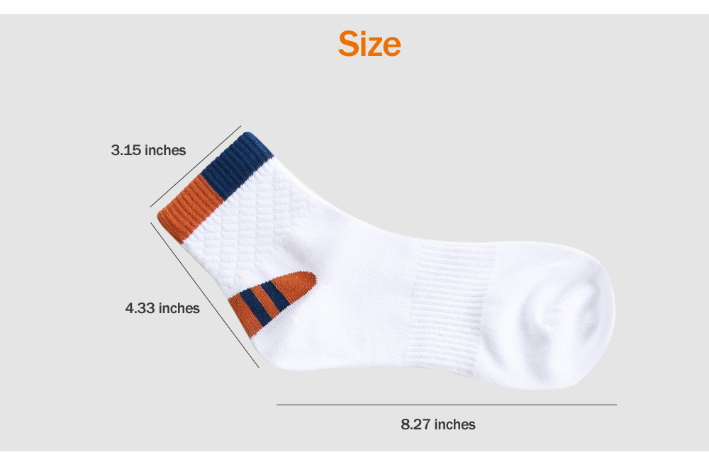 Paired Male Breathable Middle Height Cotton Sport Socks for Basketball Football Running