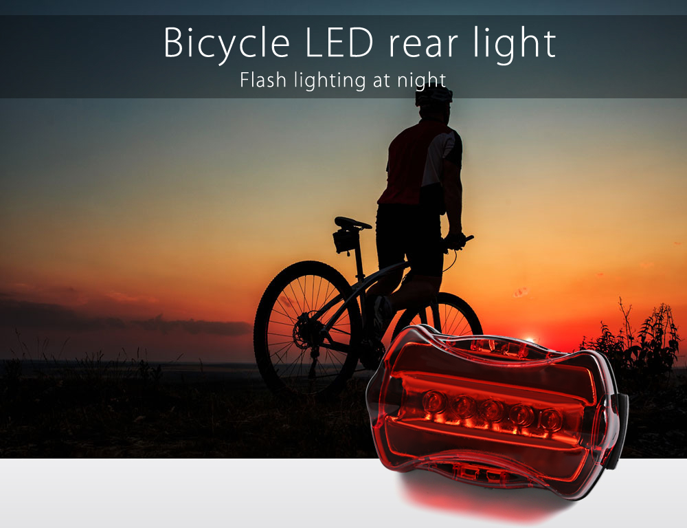 Bicycle Rear Light 5 LED Flash Taillight Water Shake Resistance Safety Warning Lamp