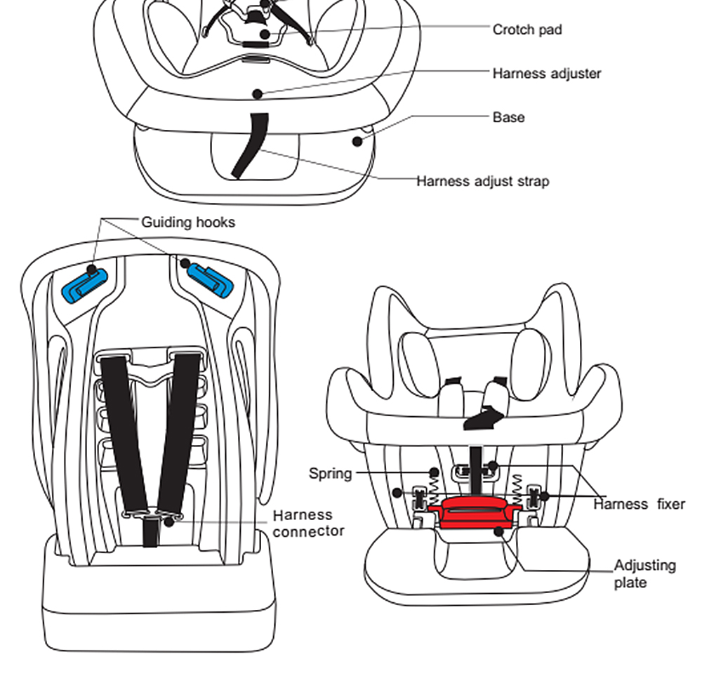 SSM - B Thickening High Back Baby Car Seats Safety First Protection
