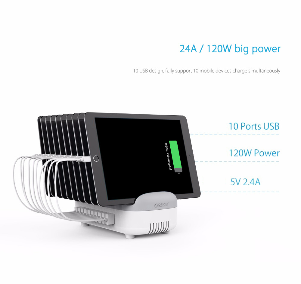 ORICO Multifunctional Stand 120W 10-port USB Output 5V 2.4A Charging Station for Multiple Mobile Devices