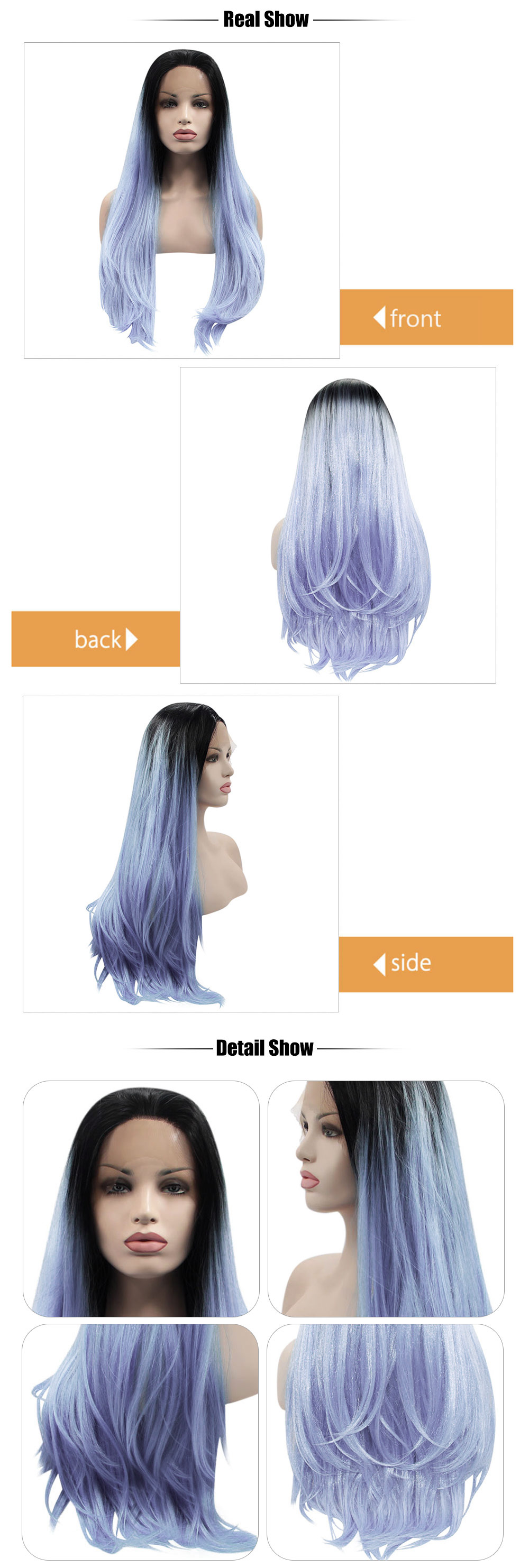 Ombre Dark Root Handmade 2 Tones Black Blue Long Natural Straight Synthetic Lace Front Wigs