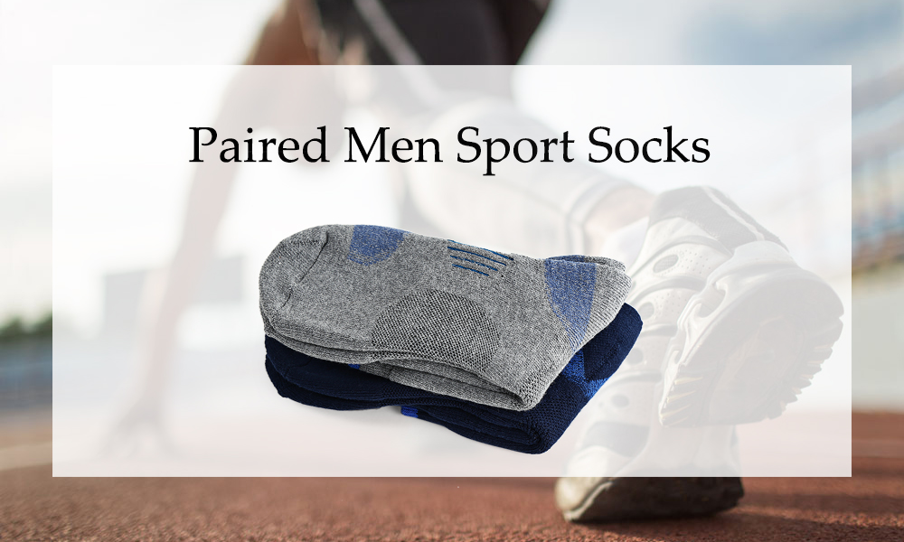 Paired Men Breathable Sport Cotton Middle Height Socks for Running Football Basketball