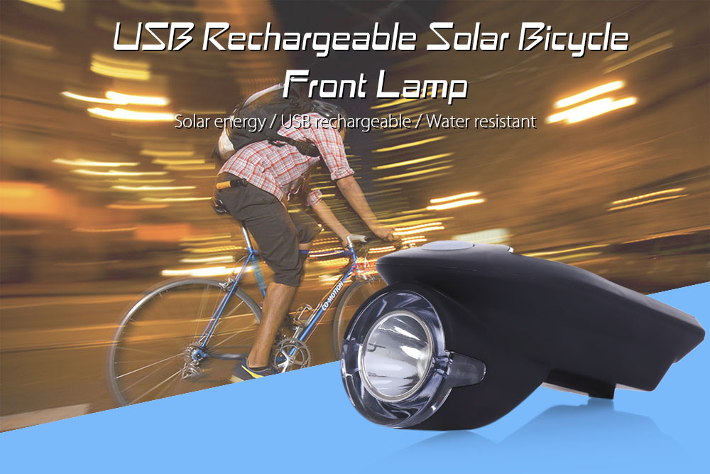 Rechargeable USB Solar Energy Bicycle Cycling Light Front Head Flashlight LED Warning Lamp
