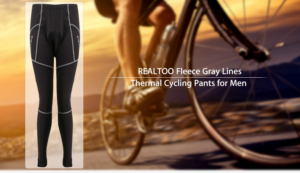 REALTOO Fleece Gray Lines Windproof Thermal Cycling Pants for Men
