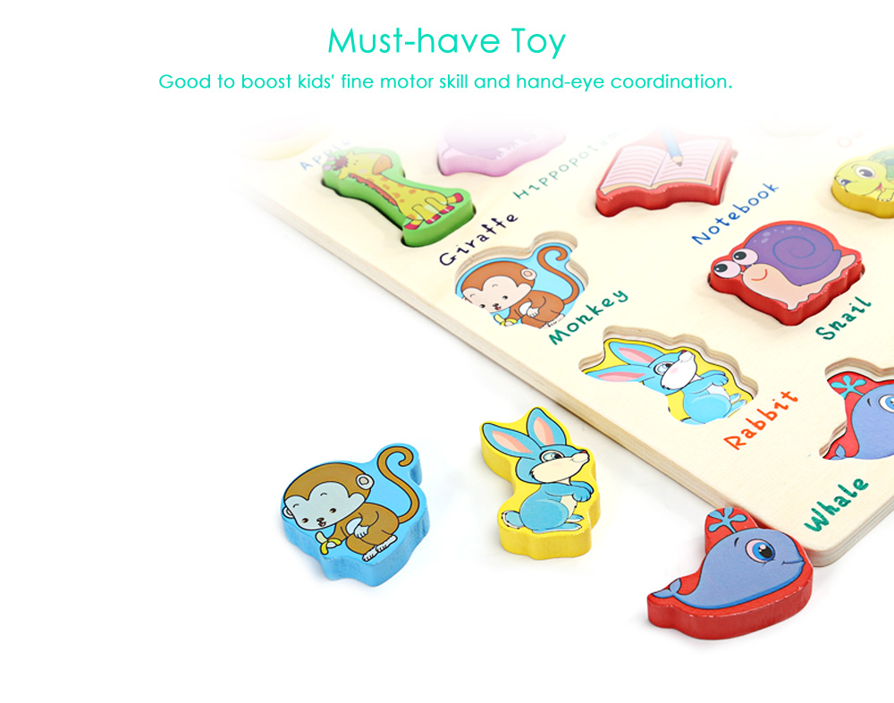 Mumama Animal Letter Wooden Building Block Puzzle Child Early Educational Toy