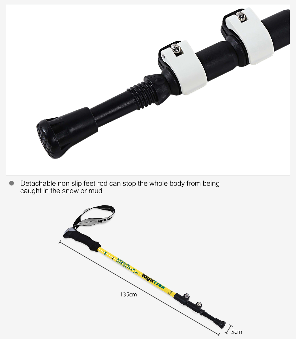 HighTrek Ultra Light Weight Strong Carbon Materials Adjustable Portable Hiking Stick
