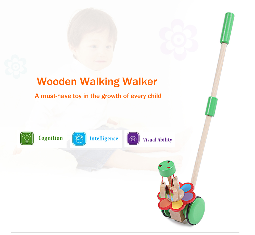 Wooden Cartoon Walking Walker Hand Push Toy for Toddler