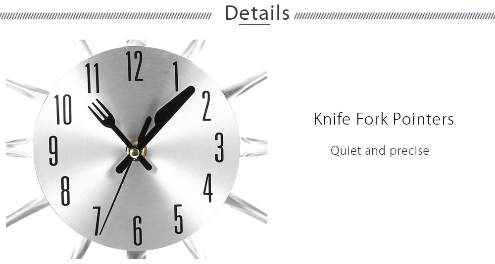 Metal Knife Fork Home Office Wall Mount Analog Clock