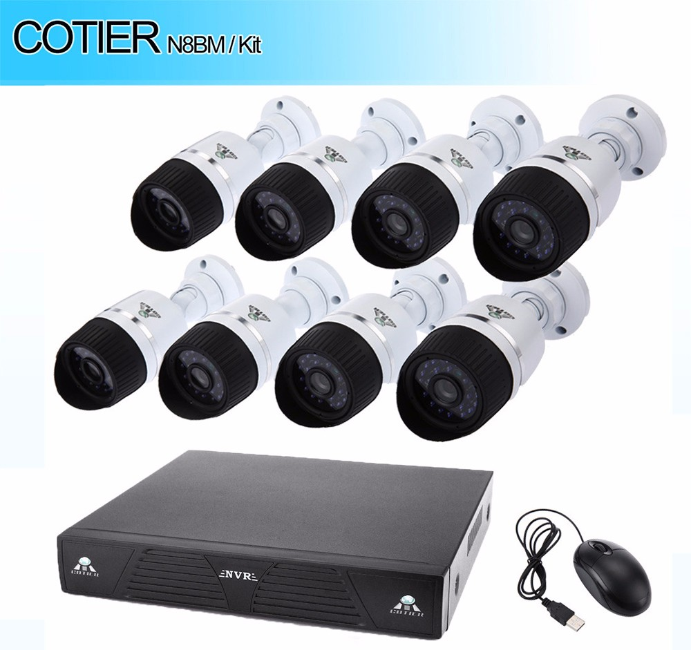 COTIER N8BM / Kit 720P ONVIF P2P IP Camera NVR Kit Security Monitoring System Suits