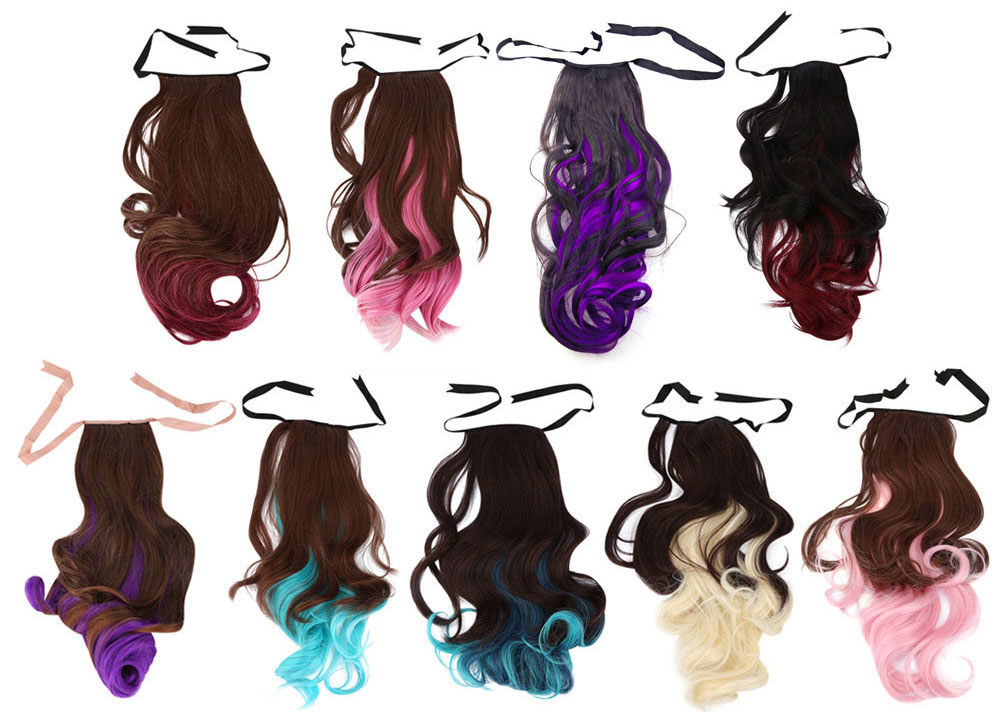 Strap Type Mixed Colors Synthetic Wig Ponytail Loose Wavy Half Hair