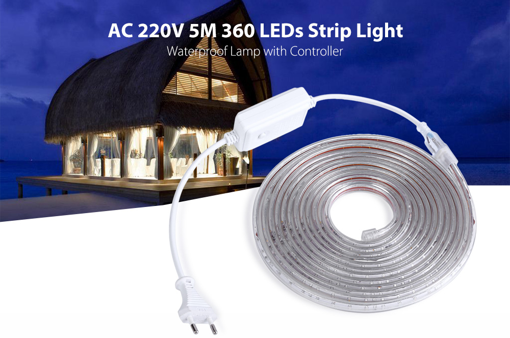 AC 220V 5M 360 LEDs Strip Light Waterproof Lamp with Controller