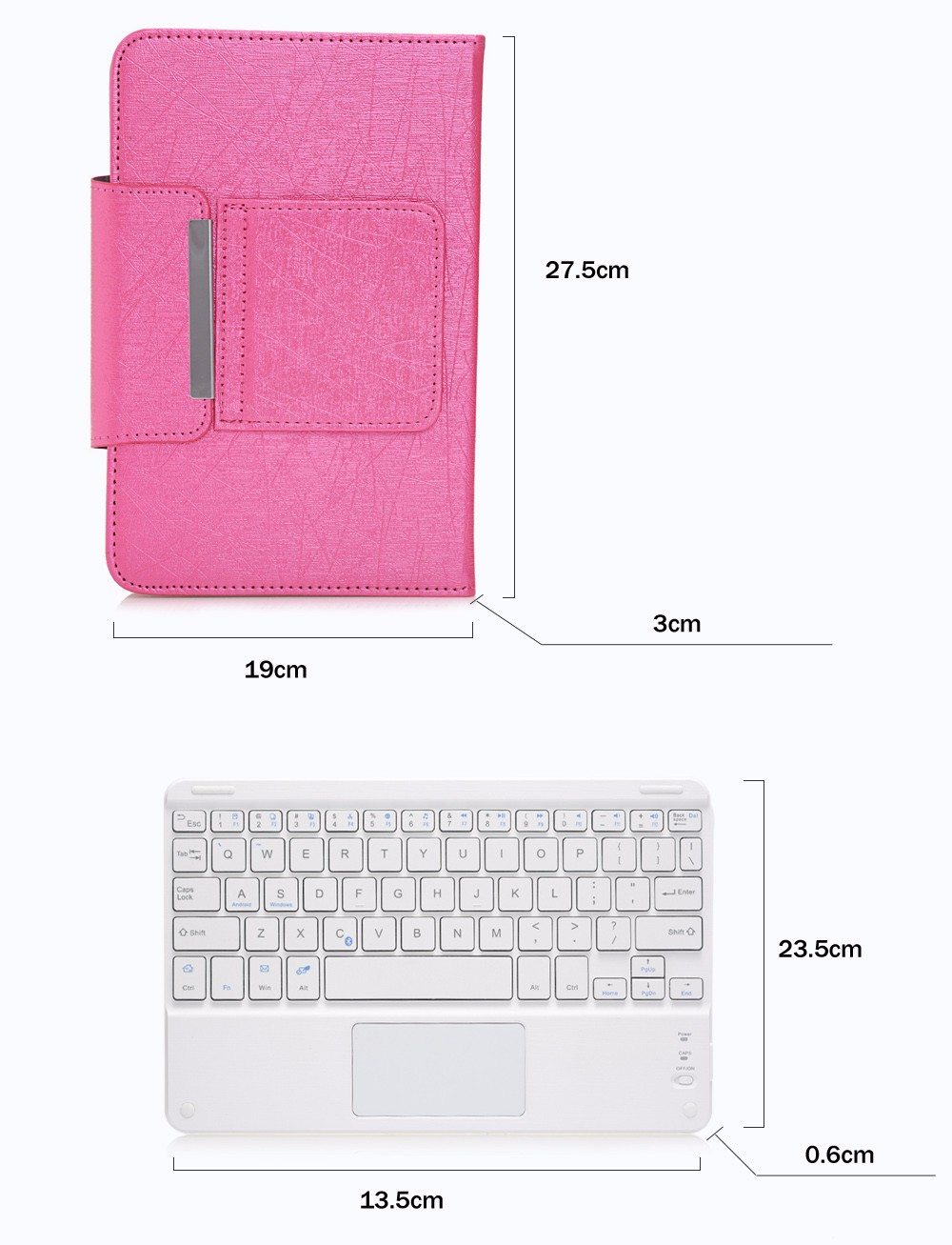 3 in 1 Universal Bluetooth Keyboard Touch Control Tablet Protective Case with Stander for iOS / Android / Windows 9 / 10 inch