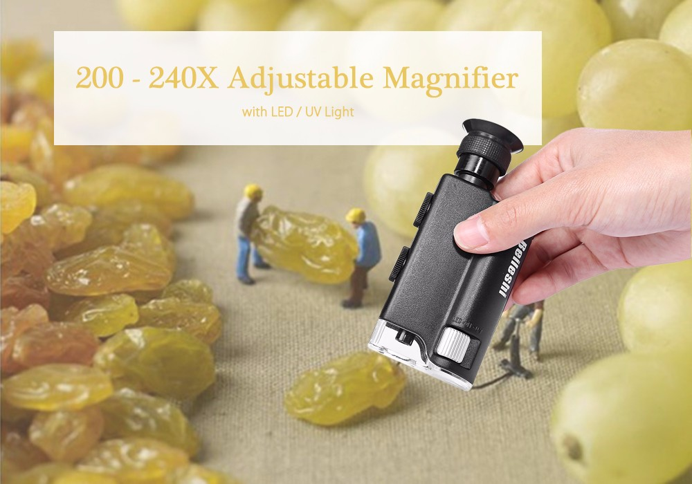 Beileshi 200 - 240X LED Wide Angle Adjustable Microscope with Currency-detecting Function