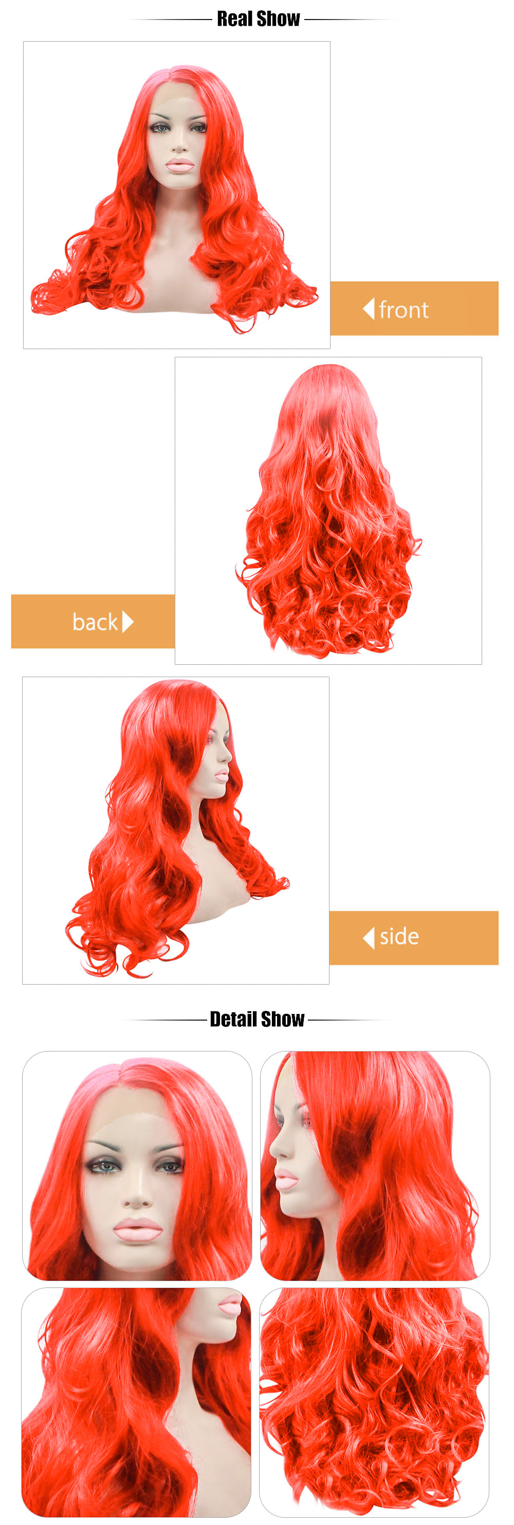 Long Red Body Wave Lace Front Wig Heat Resistant Synthetic