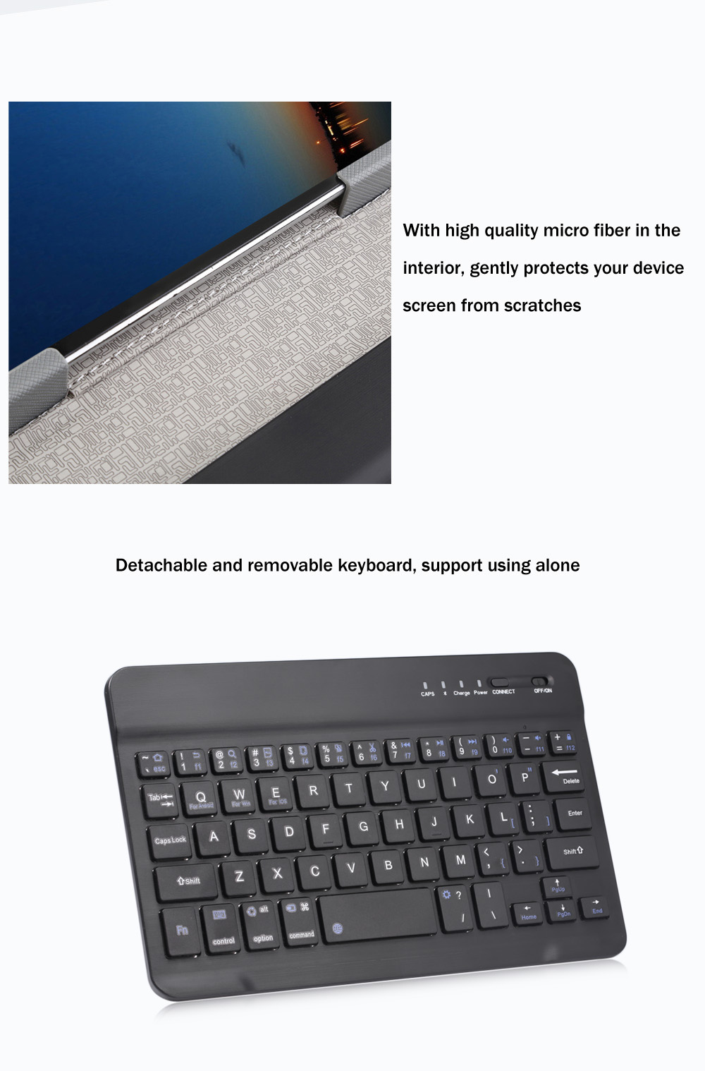 3 in 1 Universal Bluetooth 4.0 Keyboard Tablet Protective Case with Stander for iOS / Android / Windows 7 / 8 inch