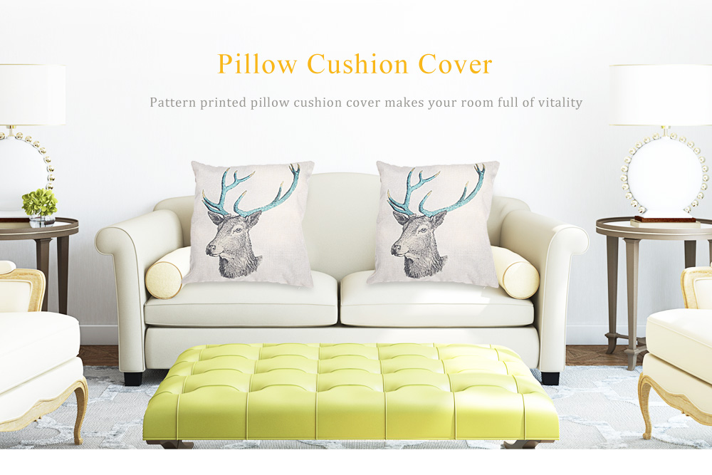 Cartoon Deer Cotton Linen Pillow Cushion Cover