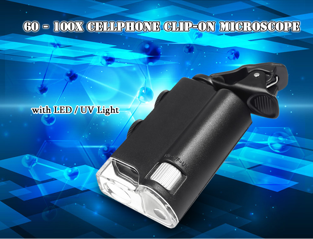 Beileshi 60 - 100X LED Adjustable Cellphone Clip-on Microscope with Currency-detecting Function