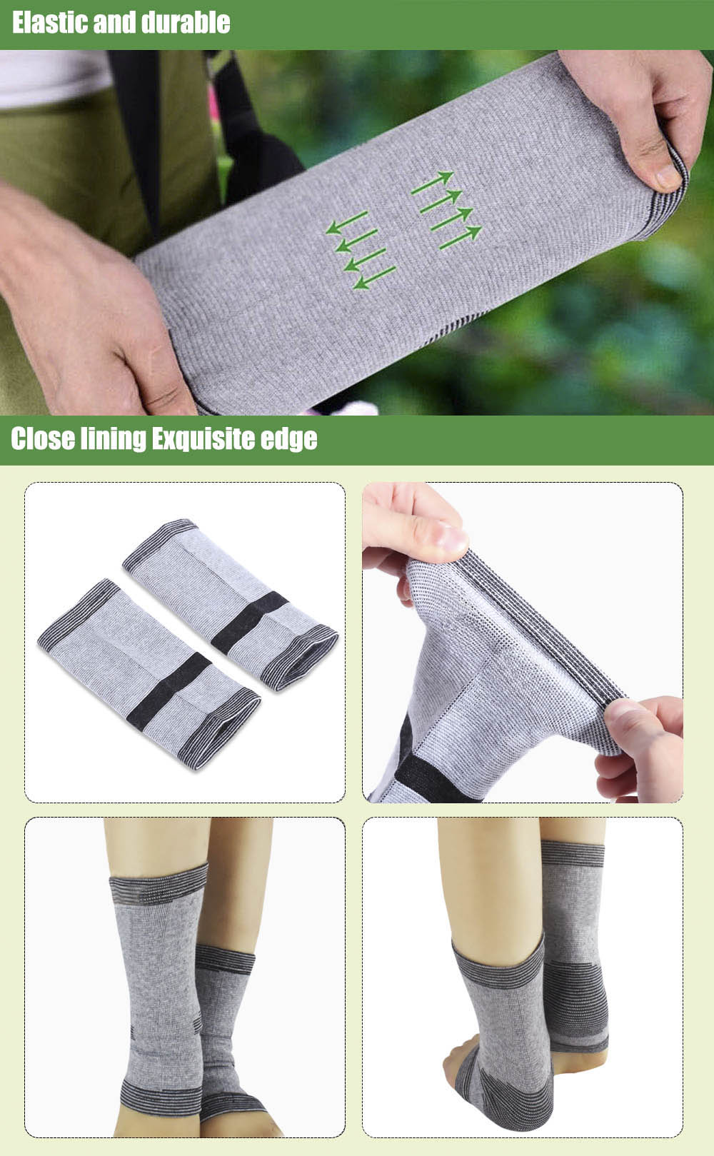 Paired Prevent Arthritis Bamboo Carbon Fiber Ankle Pad Elastic Breathable Protector