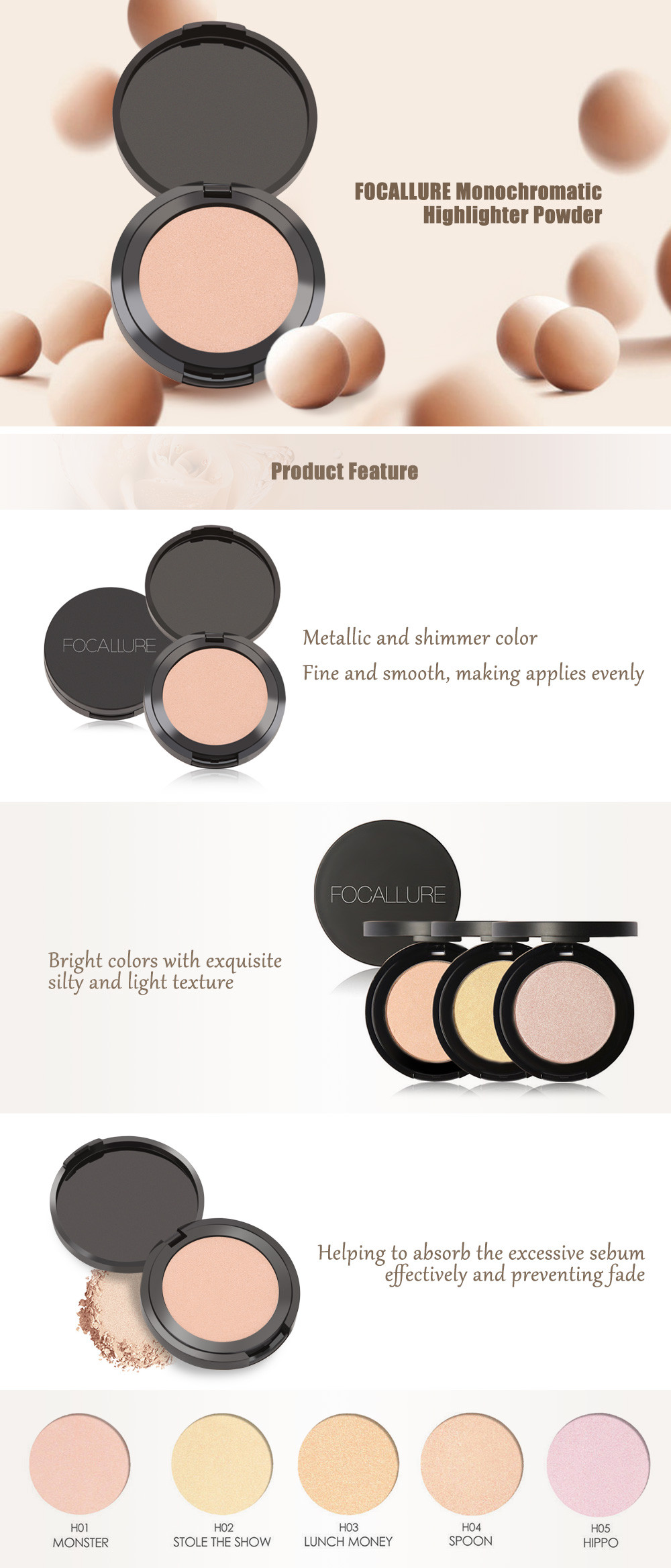 FOCALLURE Monochromatic Makeup Complexion Highlight Powder