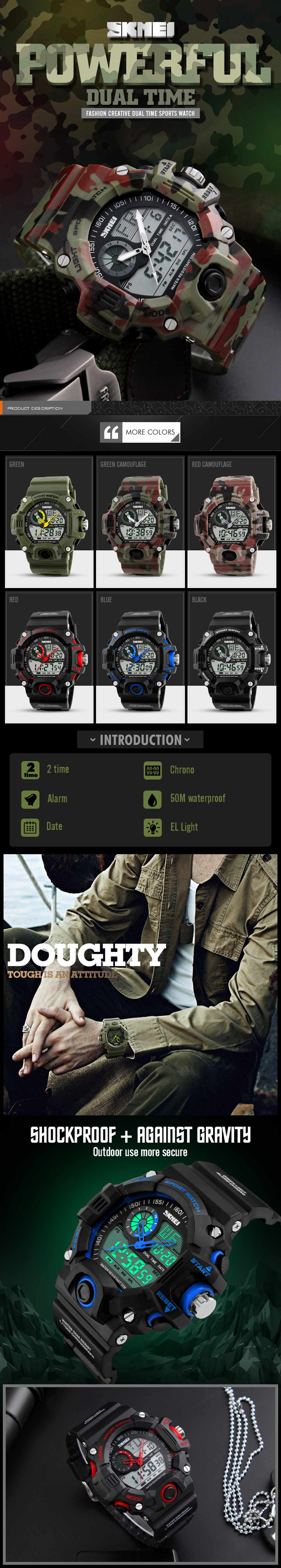Skmei 1029 Army LED Dual-movt Wristwatch Week Date Stopwatch 5ATM Water Resistant Military Watch for Sports