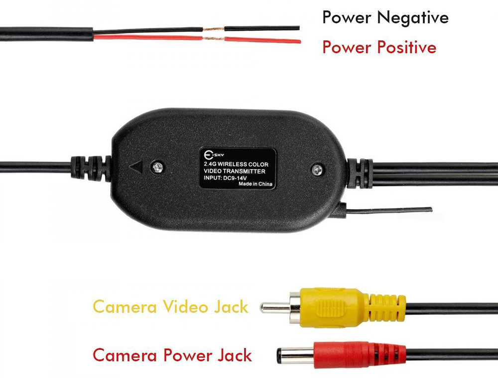 2.4G Wireless RCA Video Transmitter Receiver Kit for Car DVD Monitor Rear View Camera Reverse Backup