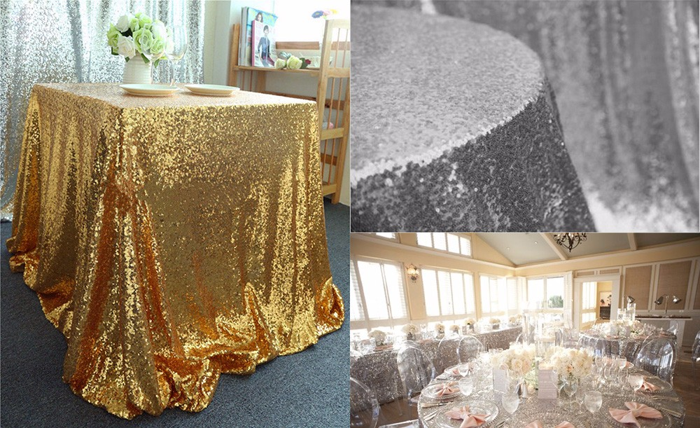 180 x 120cm Sequin Table Cloth for Weeding Party