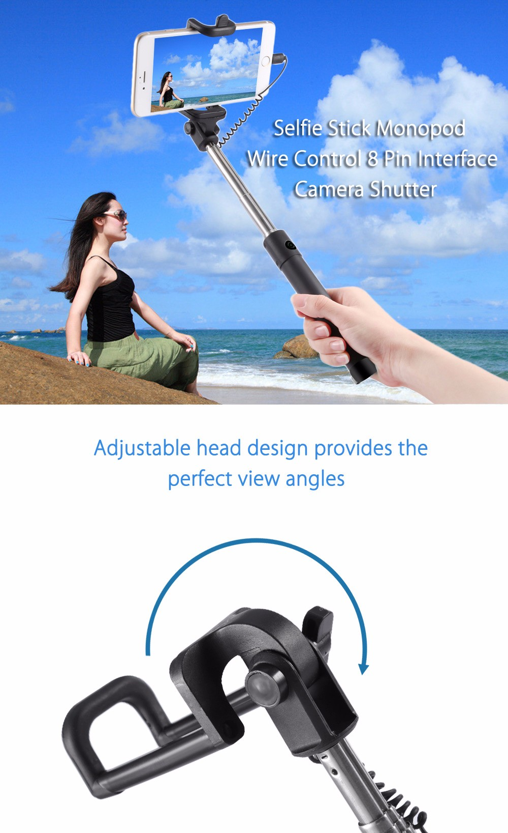 Selfie Stick Monopod Wire Control 8 Pin Interface Camera Shutter