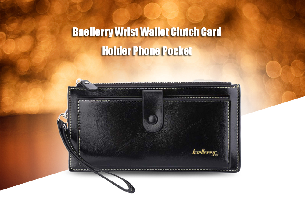 Baellerry Women Elegant Solid Color Multicard Bit Wrist Wallet Clutch Card Holder Phone Pocket