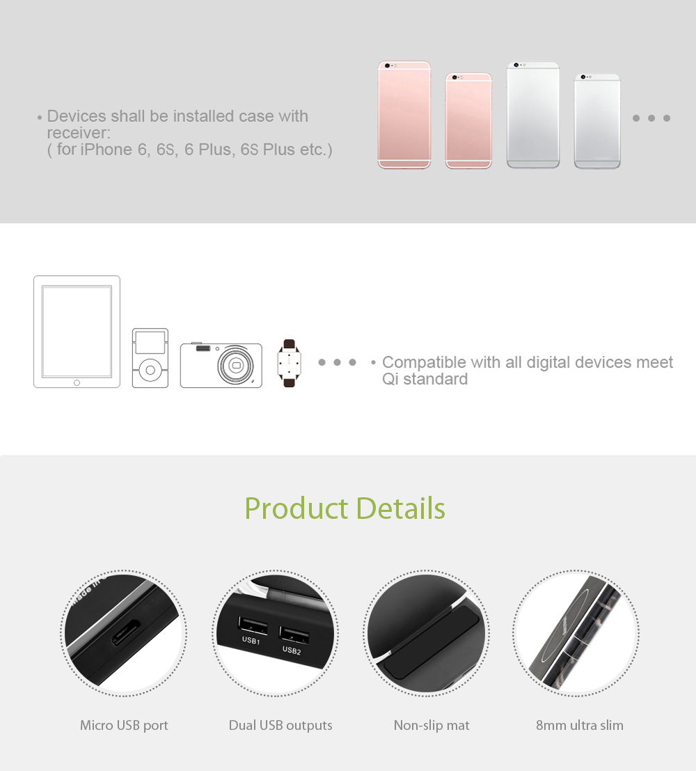 3-coil Ultra Slim Qi Wireless Charging Stand Dual USB Output with LED Indicator Light for Qi-enabled Devices