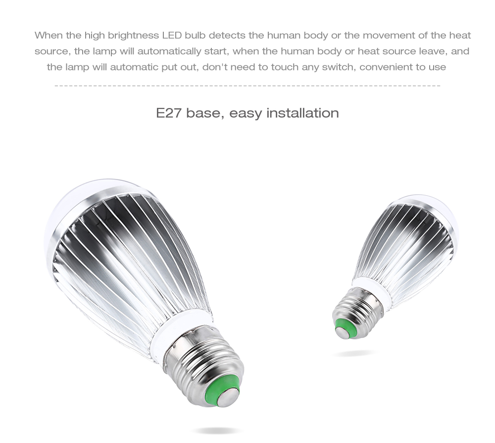 E27 7W LED Bulb Human Body Induction Infrared Lamp