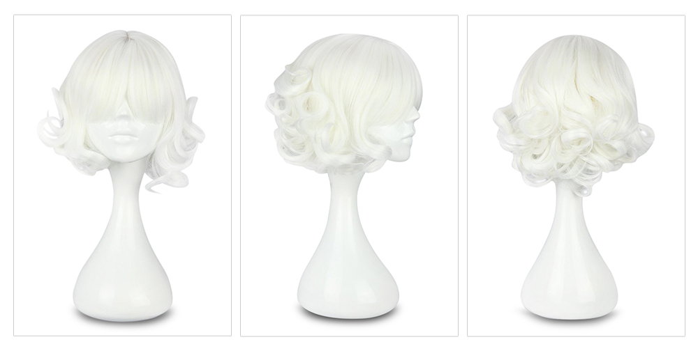 Short White Curly Wigs Party Cosplay for Tokyo Ghoul Suzuya Juuzou Figure