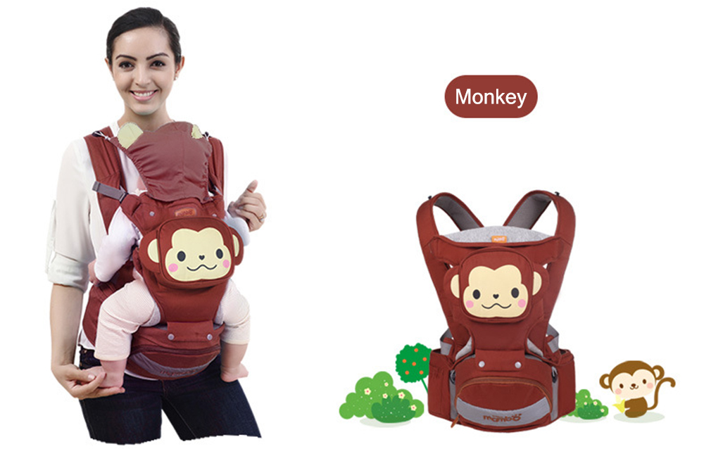 Mambobaby Comfortable Breathable Multifunctional Cartoon Animal Baby Hip Seat Carrier Waist Stool with Detachable Bag