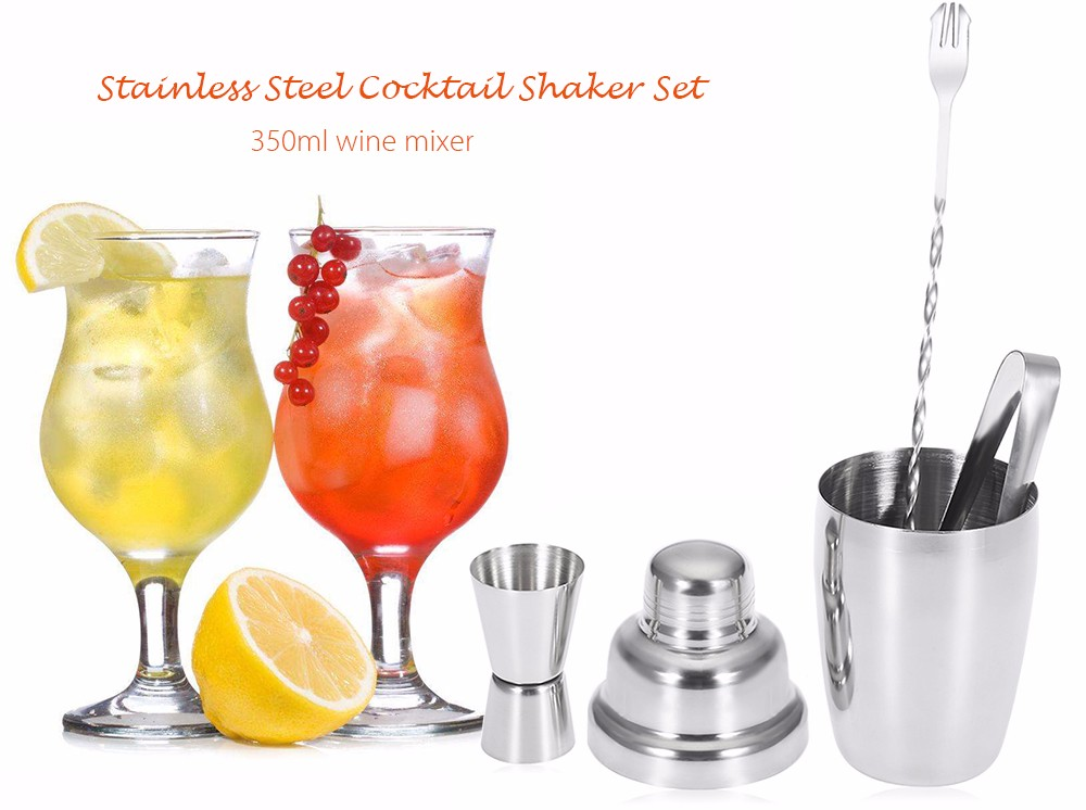 4pcs Set 350ML Stainless Steel Cocktail Shaker Mixing Spoon Measurer Ice Tong