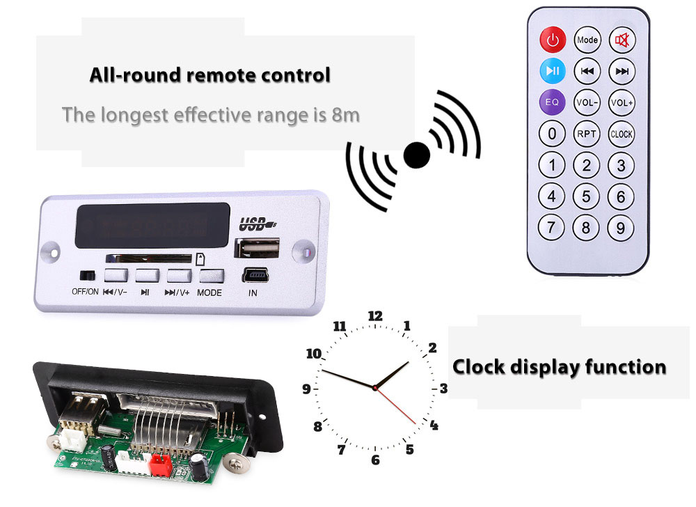 CT02CA MP3 Double Decoding Deck Remote Control WAV Decoder Power Cut Memory Function Clock Display