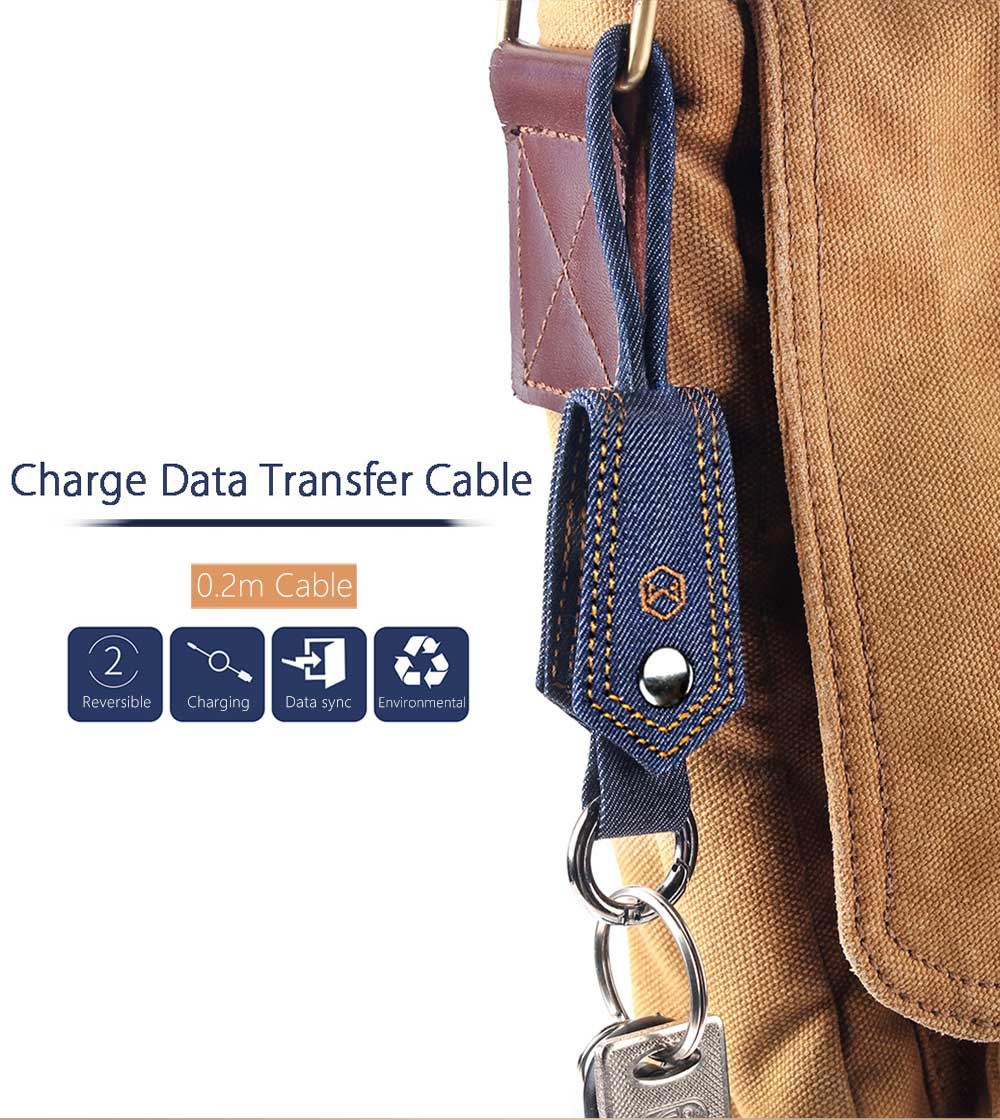 Mcdodo Jeans Keyring Portable 8 Pin Charge Data Transfer Cable 0.2m